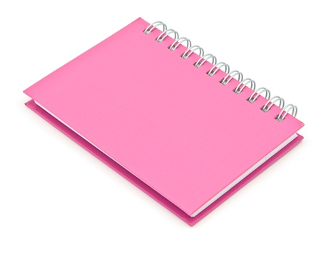 stack of ring binder book or pink notebook isolated on white background photo
