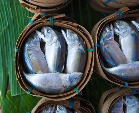 Mackerel fish in bamboo basket at market, Thailand Stock Photo - 10891209
