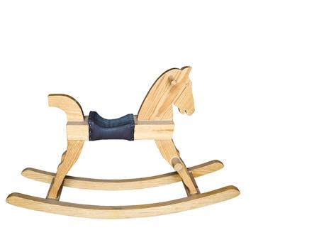 juguetes antiguos: mecedora de madera silla de caballo de los ni�os aislados en fondo blanco Foto de archivo