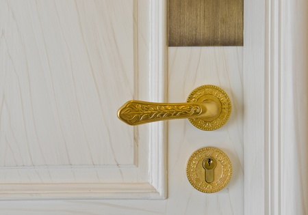golden door handle and deadbolt on wooden door photo
