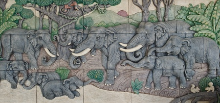 elephant Thai stucco on the temple wall