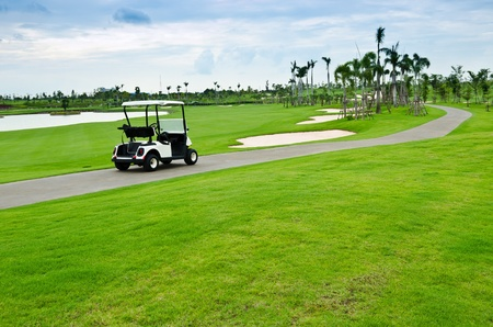 view of golf cart at golf course, Thailand photo