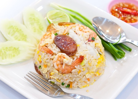 fried rice with shrimp and vegetable and sausage photo