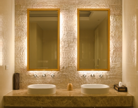 Modern style interior design of a bathroom photo