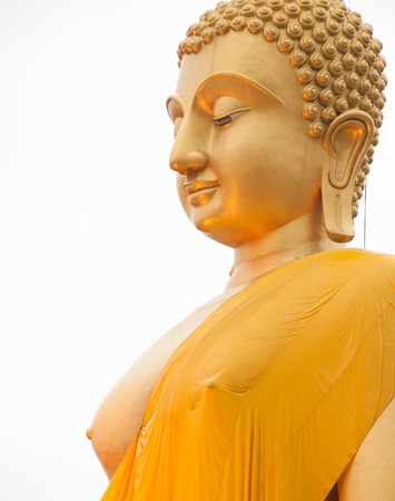 praye: View of buddha statue gold color at Thailand