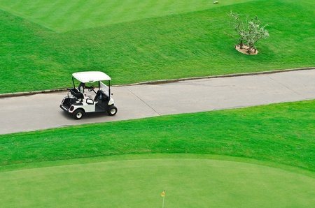 landscape picture of a golf court with golf cart photo