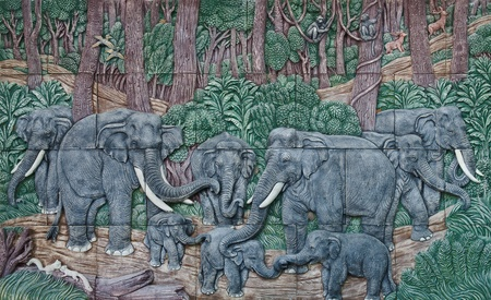 elephant Thai stucco on the temple wall