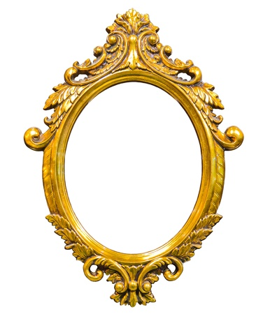 白い背景上に分離されて黄金の木の写真画像のフレーム 写真素材