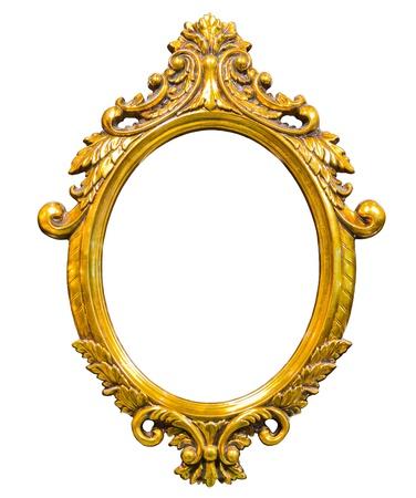 görüntü: golden wood photo image frame isolated on white background Stok Fotoğraf
