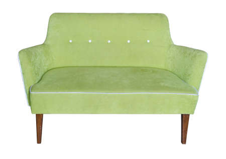 green sofa isolated on white background photo