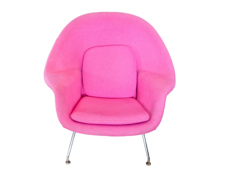 pink modern chair isolated on white background photo