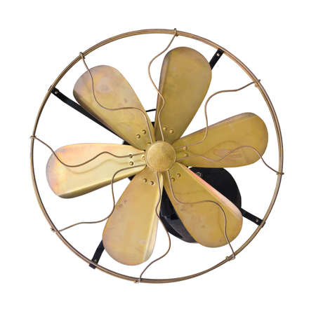 Brass vintage  wall electric fan on white background. photo