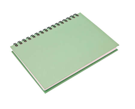 stack of ring binder book or green notebook isolated on white background photo