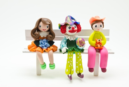 handmade a dolls made by Soap molding on white background photo
