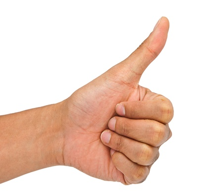 Man hand making sign  Isolated on white background photo