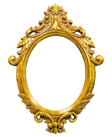 golden wood photo image frame isolated on white background Archivio Fotografico
