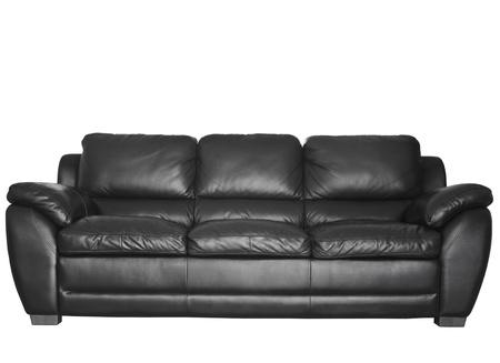 Leren Moderne Bank.Moderne Zwarte Lederen Sofa Geisoleerd Royalty Vrije Foto