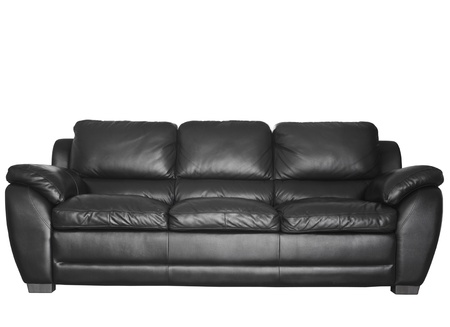 Image of a modern black leather sofa isolated against white background photo