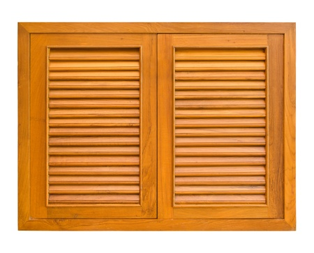 Wood windows of cabinet isolate on white background photo