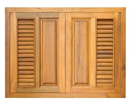 Wood windows of cabinet isolate on white background photo