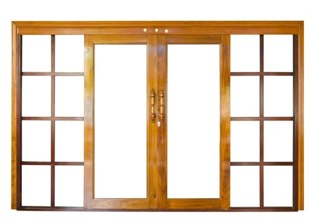 Wood door of  isolate on white background