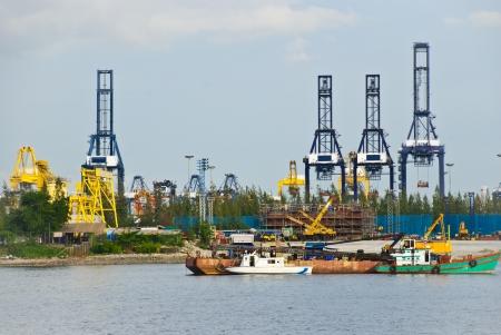 Cranes at an industrial port, chonburi, Thailand