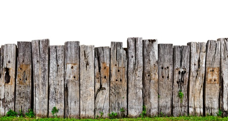 wood fence: old wooden fence in garden with plant