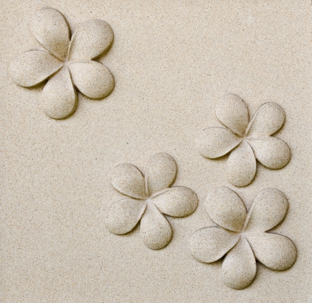 pattern of decorative sand stone wall with flower Stock Photo - 13940948