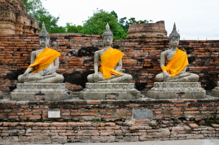 old  Buddha statue in temple at Ayutthaya, Thailand. World Heritage Site