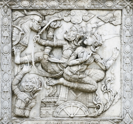 masterpiece of traditional Thai style stucco art old about Ramayana story on temple decorative wall at Wat Panan Choeng temple, Ayutthaya, Thailand. World Heritage Site