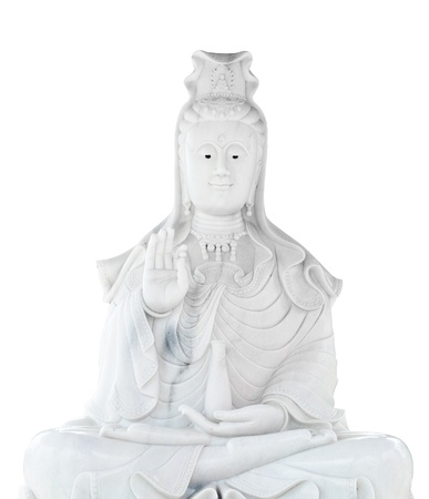 white jade stone carving, Kuan Yin statue of buddha Chinese art photo