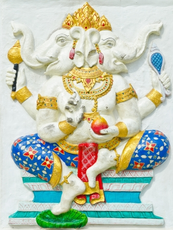 siddhivinayaka: God of success 28 of 32 posture  Indian style or Hindu God Ganesha avatar image in stucco low relief technique with vivid color,Wat Samarn, Chachoengsao,Thailand