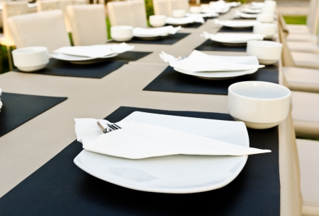 Dinner place setting. A white plate with stainless fork and cup Stockfoto