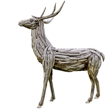 wooden deer made from nature material, handmade