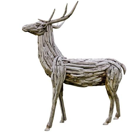 wooden deer made from nature material, handmade