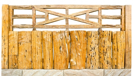decorative old wooden fence in a garden photo