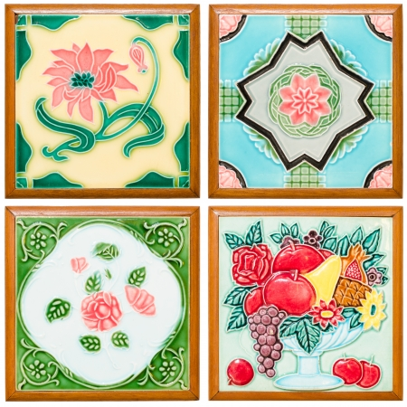pattern colorful of modern style design decorative surface tile in the wood frame on wall photo