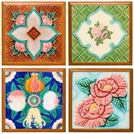 pattern colorful of modern style design decorative surface tile in the wood frame on wall Stock Photo - 14968839