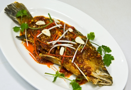 Fried snapper with chili sauce photo