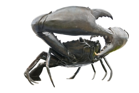 pincers: black crab sculptures in white background Stock Photo
