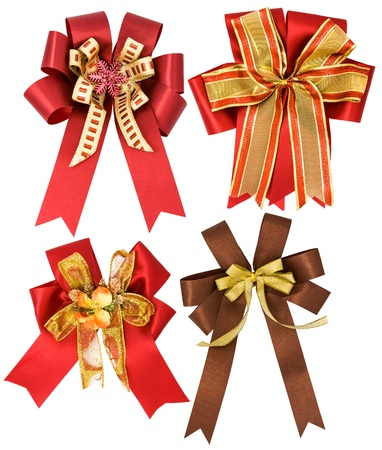Holiday red and golden bows photo
