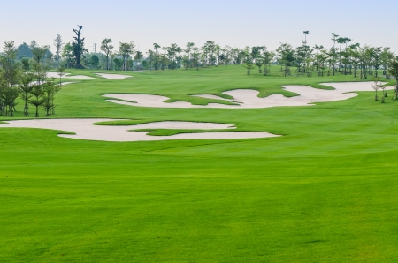 view landscape of golf course at Thailand photo