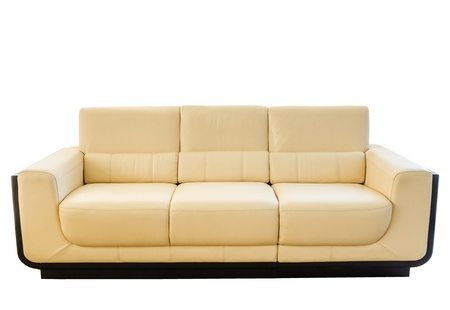 modern sofa: Image of a modern white cream leather sofa isolated against white background