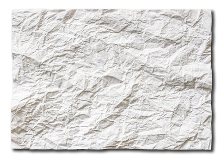 uneven edge: White crumpled paper on white background isolated