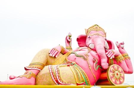 trust in god: Pink ganesha statue wat Samarn, Chachoengsao, Thailand Stock Photo
