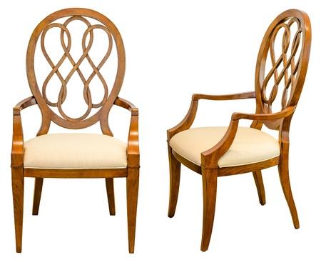 モダンなスタイルの装飾的な木製の椅子、家具の白い背景で隔離の種類