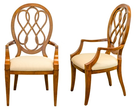 table and chairs: Decorative modern style wooden chair , kind of furniture  isolated on white background Stock Photo