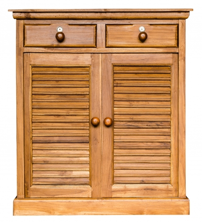 Wood cabinet isolate on white background photo