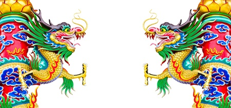 Chinese style dragon statue at pole on white background photo