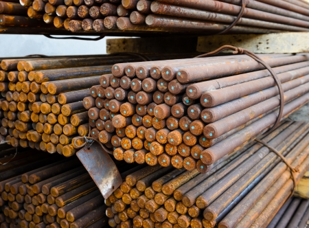 Rust Reinforcing steel rod or bars in warehouse photo